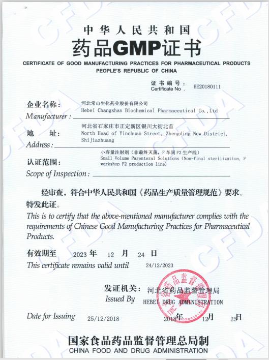 小容量生产线注射剂生产线GMP证书