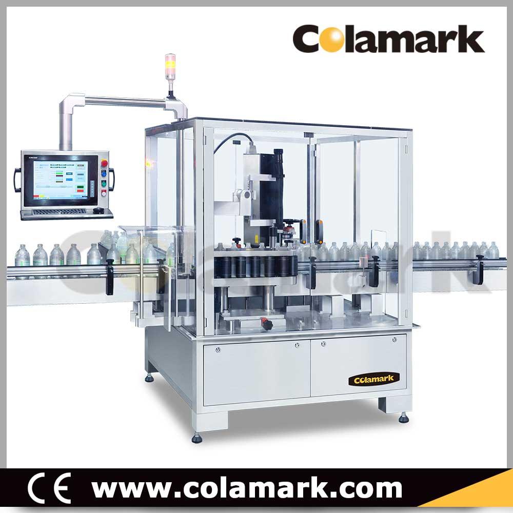 Colamark|達爾嘉 A102 垂直輥子鏈式大圓瓶智能貼標機