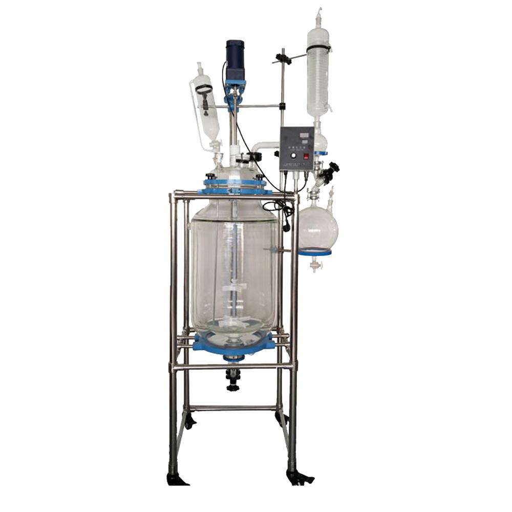 10-10L實驗化工用防爆變頻雙層多功能攪拌反應器雙層玻璃反應器