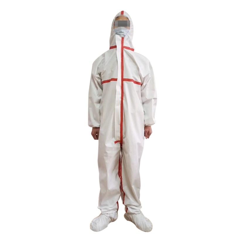 出口手續齊全非織造布一次性隔離服帶壓條雨衣防護服連體防護服