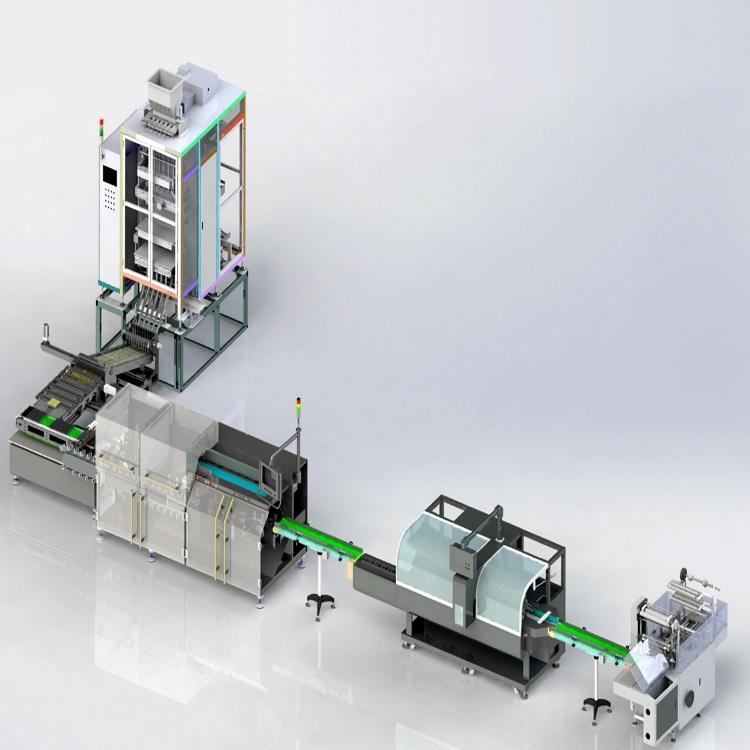 多列式颗粒/粉末/液体条包自动充填、理料、计数、装盒包装线